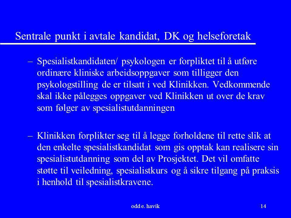 Sentrale punkt i avtale kandidat, DK og helseforetak