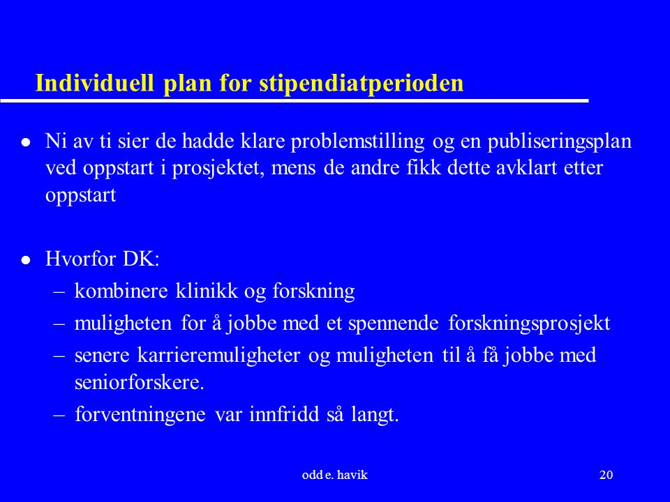 Individuell plan for stipendiatperioden