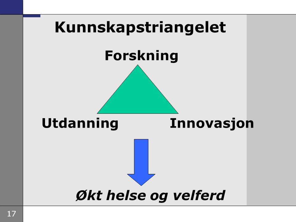 Kunnskapstriangelet Forskning Utdanning Innovasjon