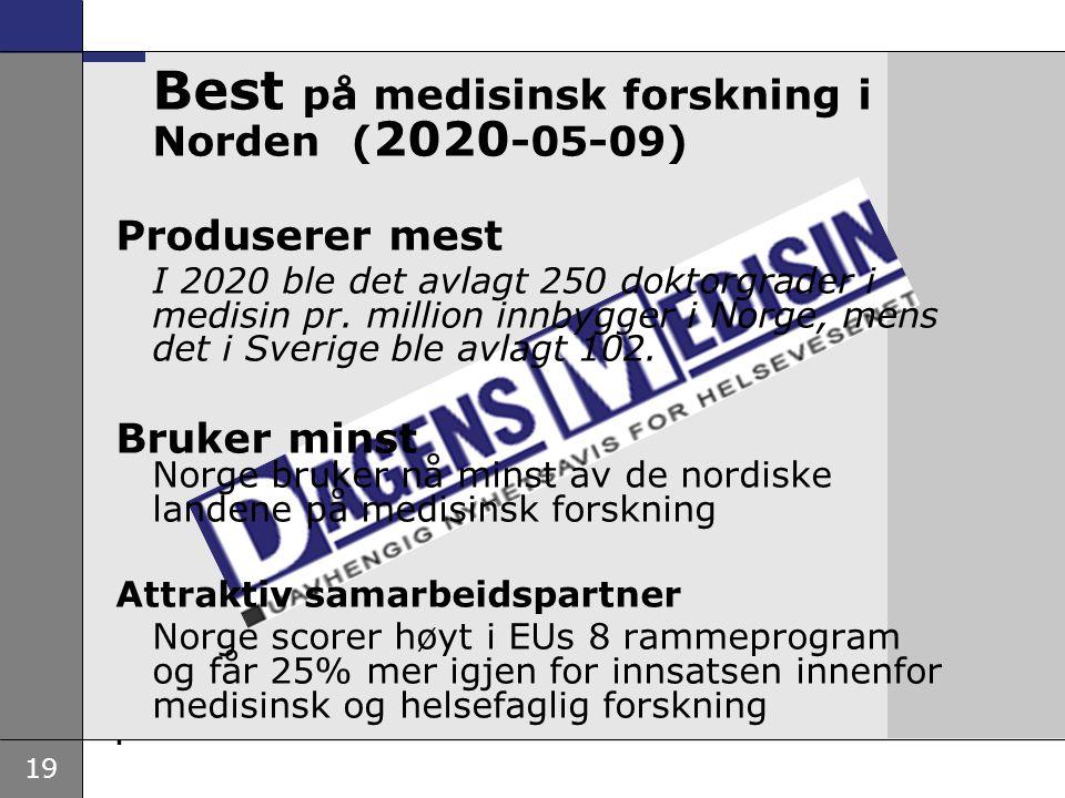 Best på medisinsk forskning i Norden (2020-05-09)