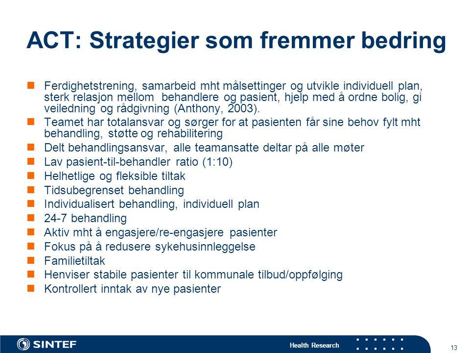 ACT: Strategier som fremmer bedring