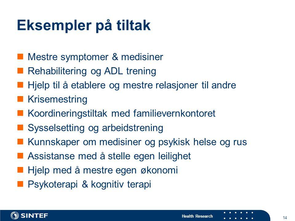 Eksempler på tiltak Mestre symptomer & medisiner