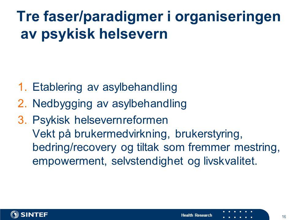 Tre faser/paradigmer i organiseringen av psykisk helsevern