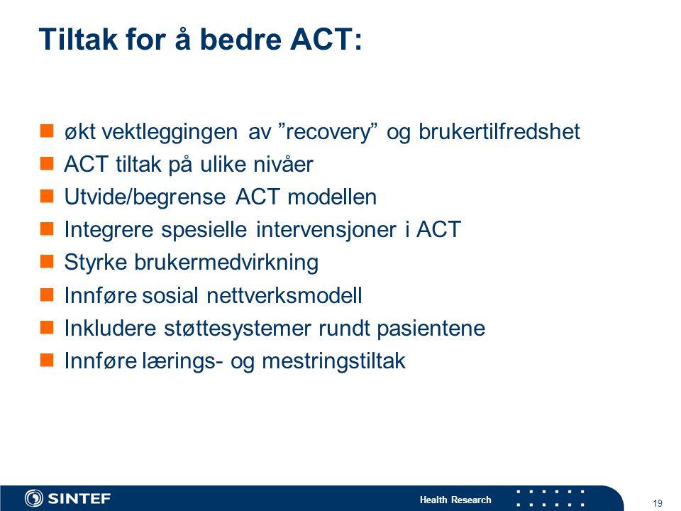 Tiltak for å bedre ACT: økt vektleggingen av recovery og brukertilfredshet. ACT tiltak på ulike nivåer.