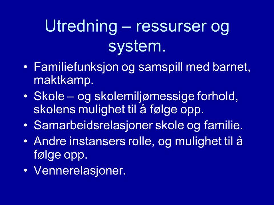Utredning – ressurser og system.
