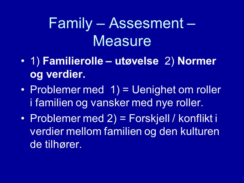 Family – Assesment – Measure