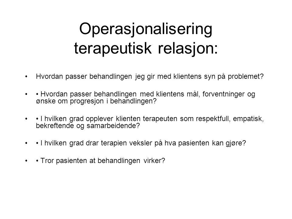 Operasjonalisering terapeutisk relasjon: