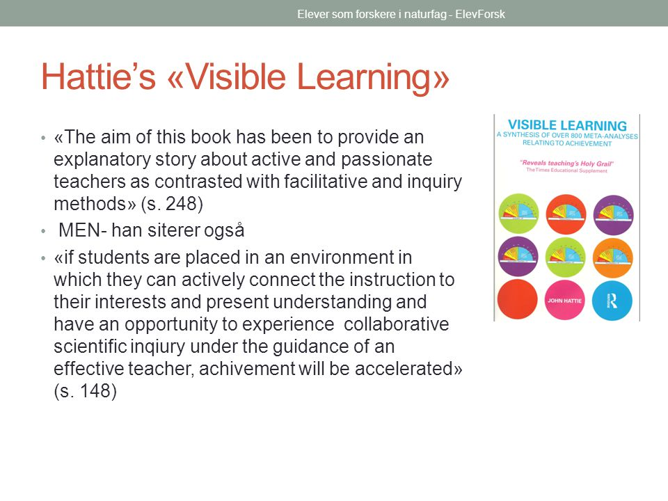 Hattie's «Visible Learning»