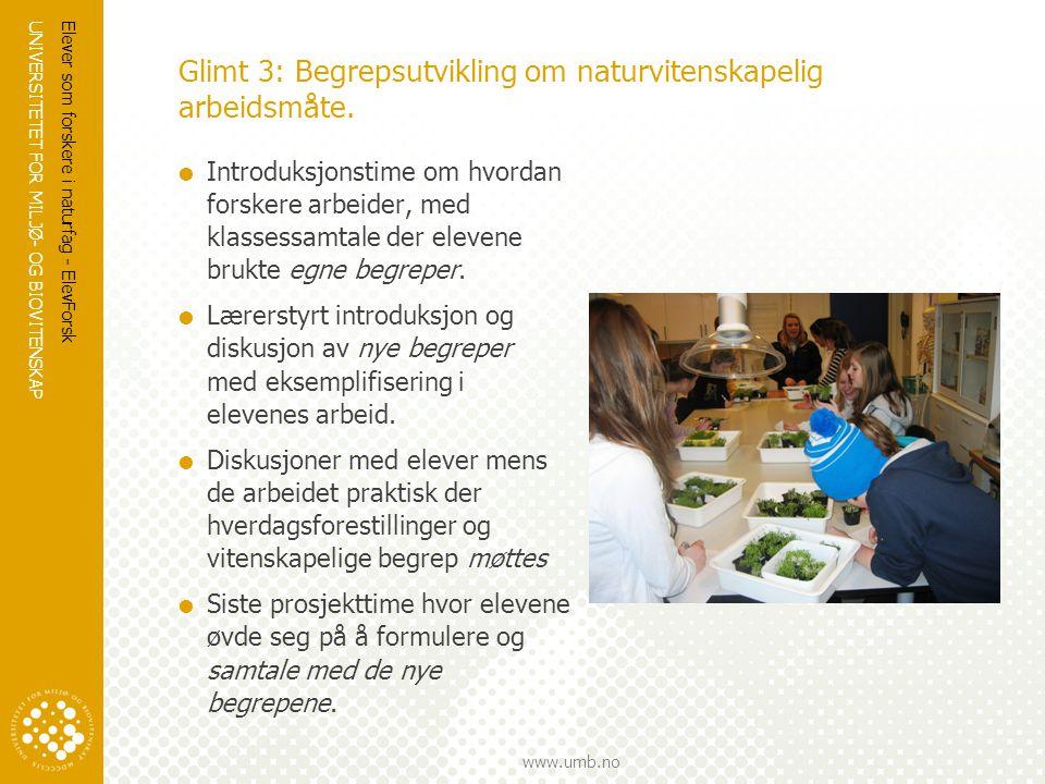 Glimt 3: Begrepsutvikling om naturvitenskapelig arbeidsmåte.
