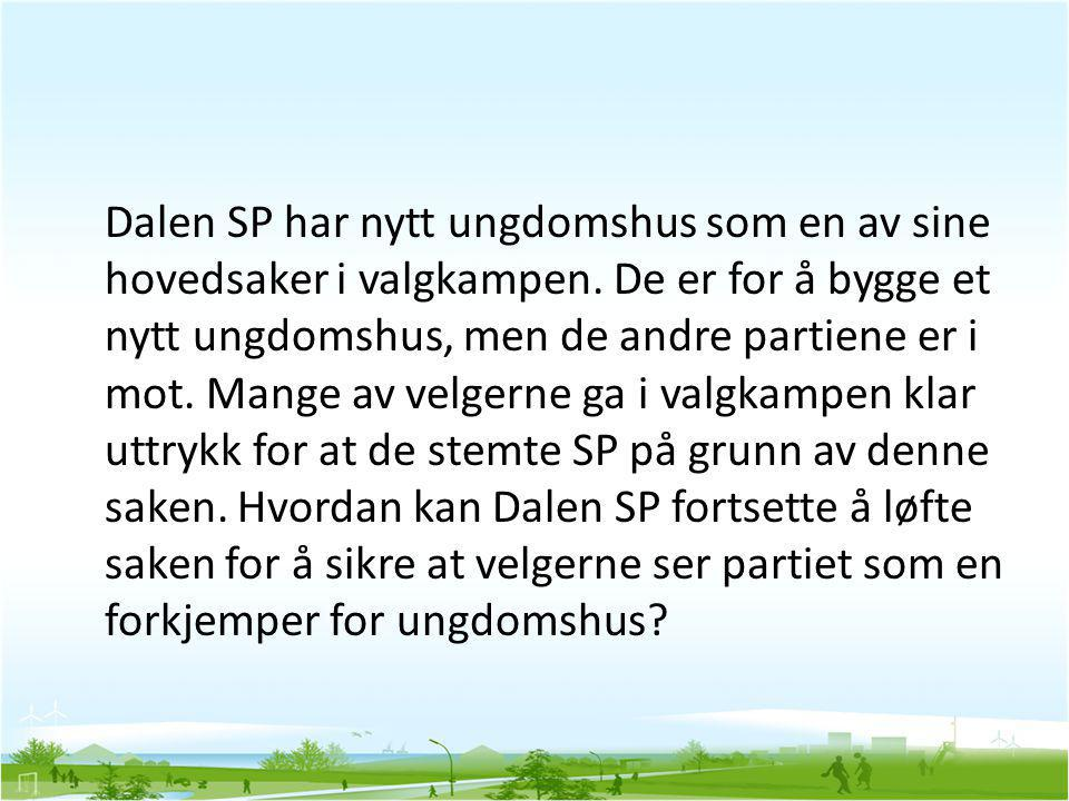 Dalen SP har nytt ungdomshus som en av sine hovedsaker i valgkampen