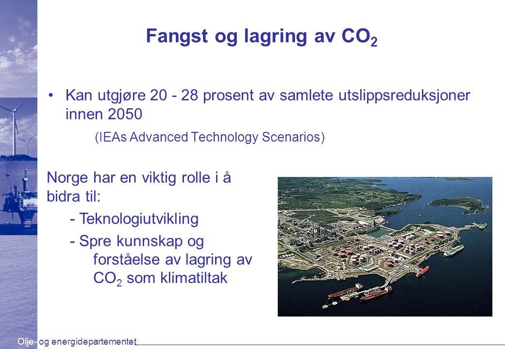 Fangst og lagring av CO2 Kan utgjøre 20 - 28 prosent av samlete utslippsreduksjoner innen 2050. (IEAs Advanced Technology Scenarios)