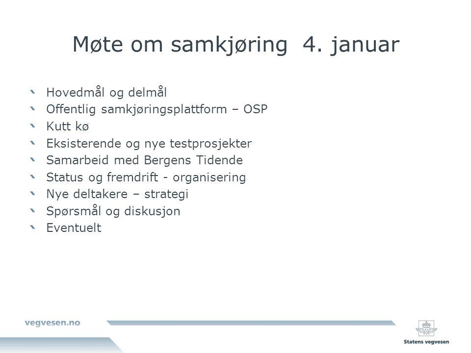 Møte om samkjøring 4. januar