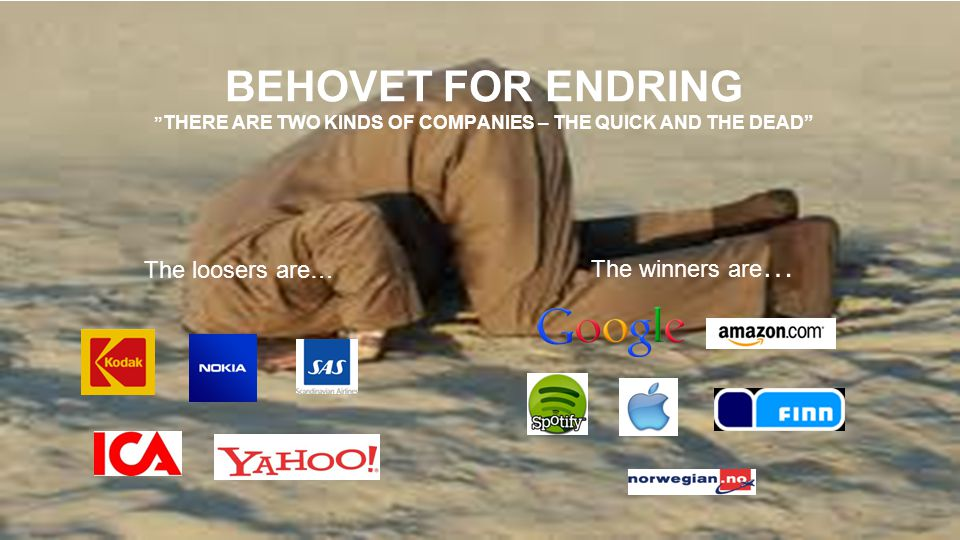 Behovet for endring there are two kinds of companies – the quick and the dead
