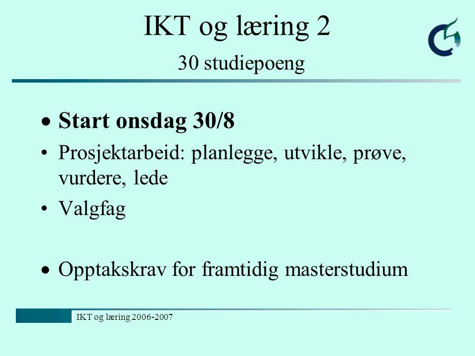 IKT og læring 2 30 studiepoeng