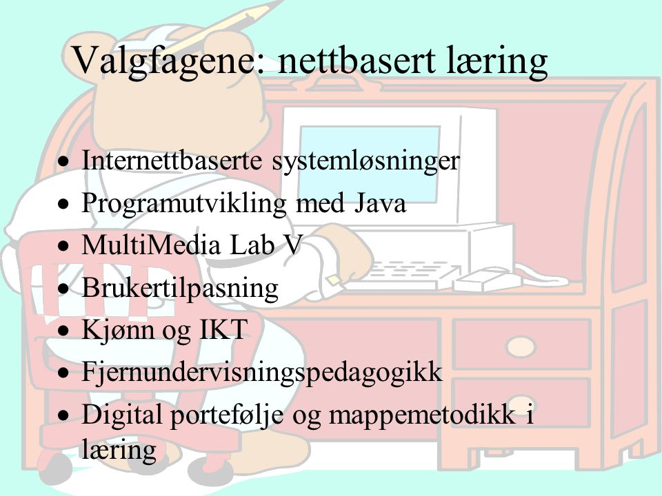 Valgfagene: nettbasert læring