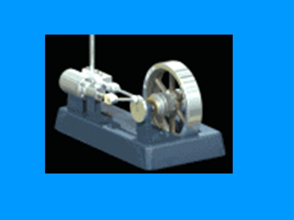 Dampmaskin: stempelbevegelsen driver hjulet rundt