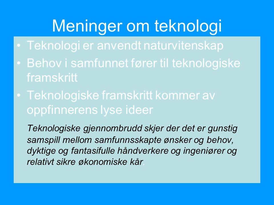 Meninger om teknologi Teknologi er anvendt naturvitenskap