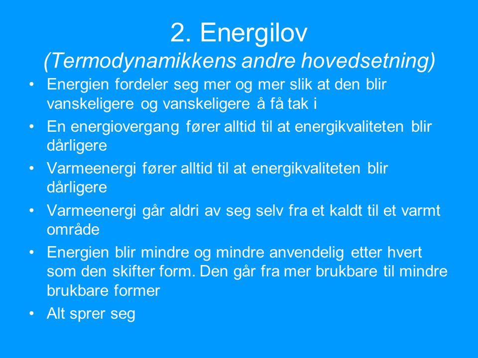 2. Energilov (Termodynamikkens andre hovedsetning)