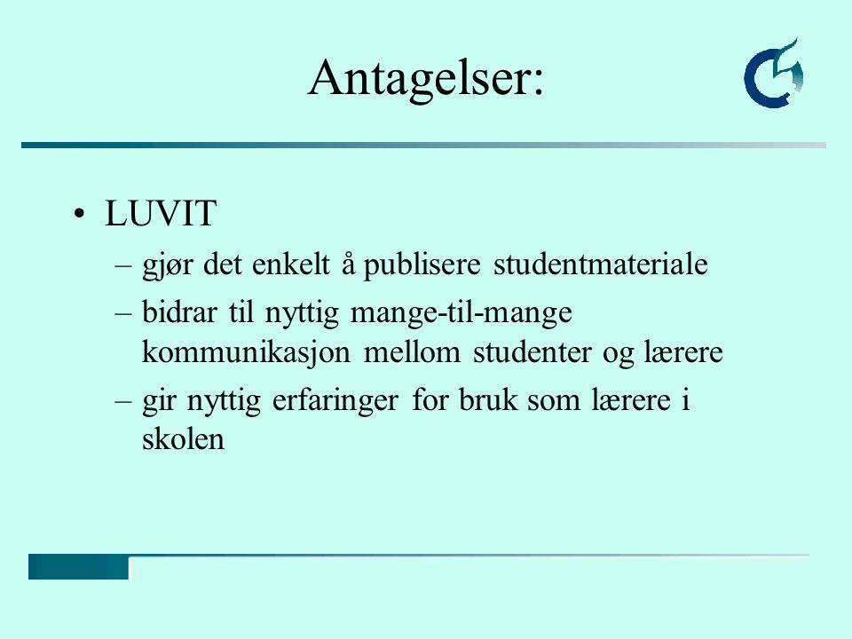 Antagelser: LUVIT gjør det enkelt å publisere studentmateriale