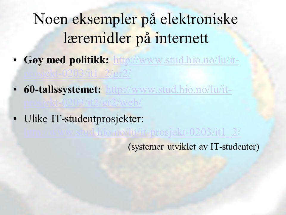 Noen eksempler på elektroniske læremidler på internett