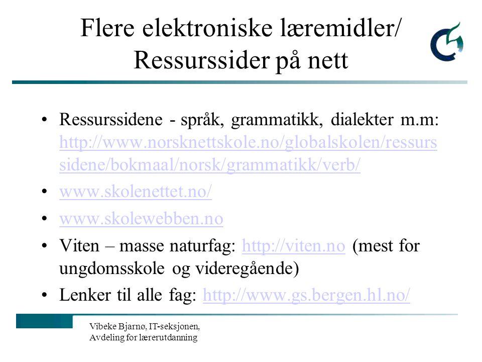 Flere elektroniske læremidler/ Ressurssider på nett
