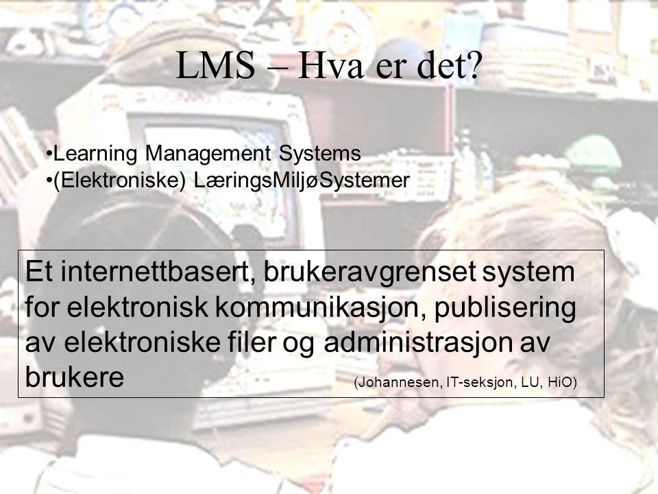 LMS – Hva er det Learning Management Systems. (Elektroniske) LæringsMiljøSystemer.