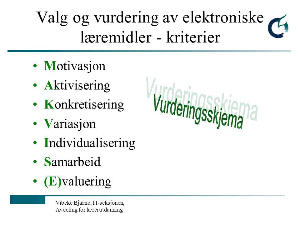 Valg og vurdering av elektroniske læremidler - kriterier