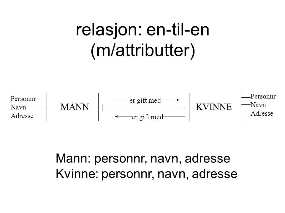 relasjon: en-til-en (m/attributter)