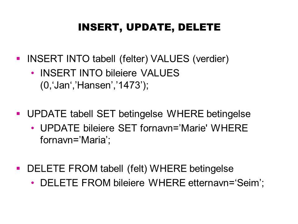 INSERT, UPDATE, DELETE INSERT INTO tabell (felter) VALUES (verdier) INSERT INTO bileiere VALUES (0,'Jan','Hansen','1473');