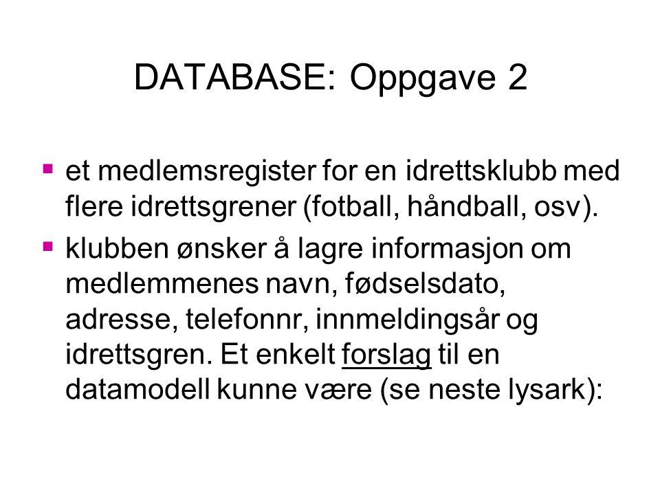 DATABASE: Oppgave 2 et medlemsregister for en idrettsklubb med flere idrettsgrener (fotball, håndball, osv).