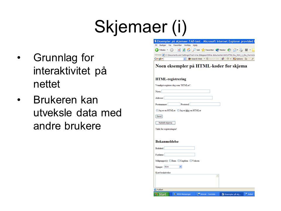 Skjemaer (i) Grunnlag for interaktivitet på nettet