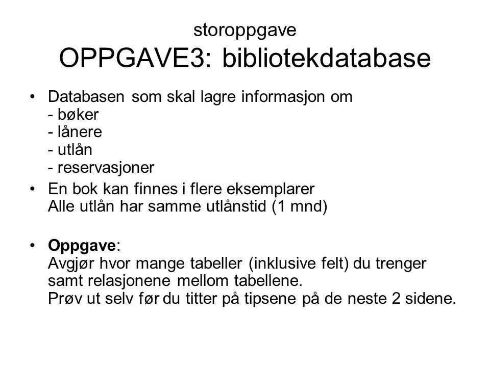 storoppgave OPPGAVE3: bibliotekdatabase