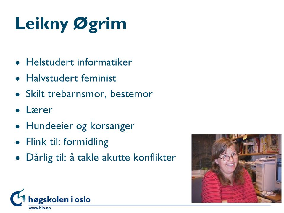 Leikny Øgrim Helstudert informatiker Halvstudert feminist
