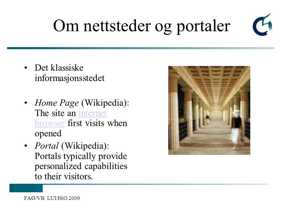 Om nettsteder og portaler