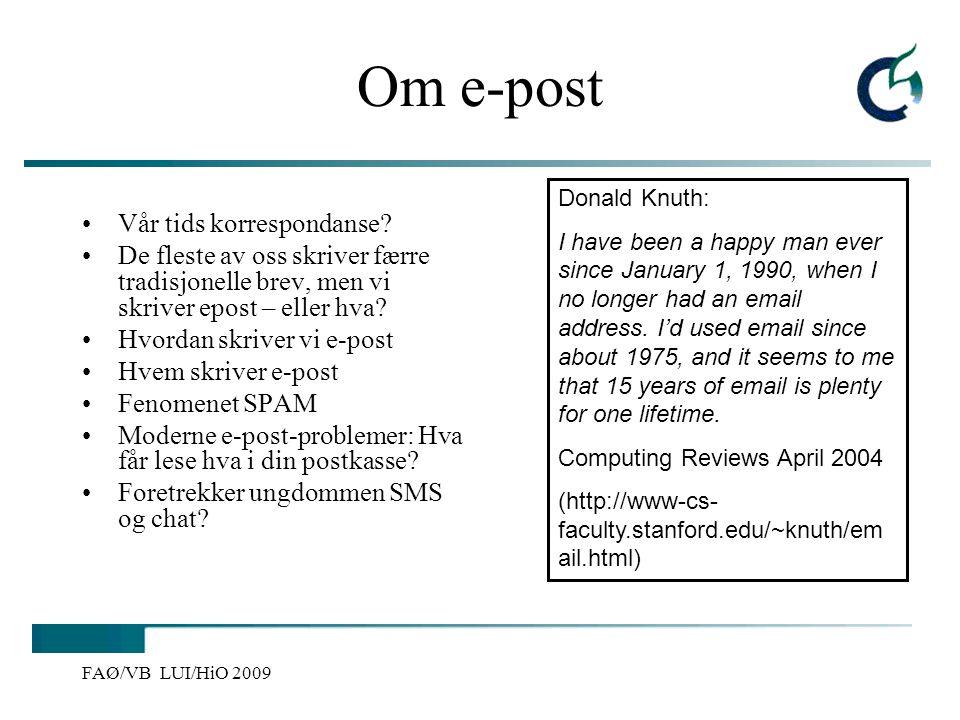 Om e-post Vår tids korrespondanse