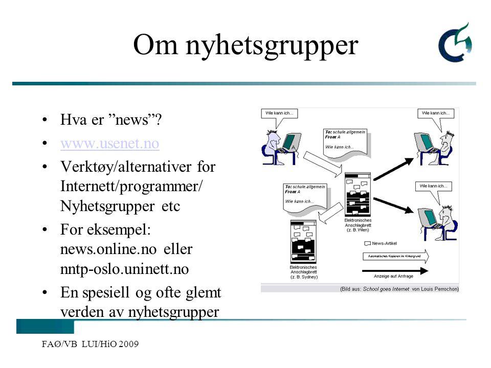 Om nyhetsgrupper Hva er news www.usenet.no
