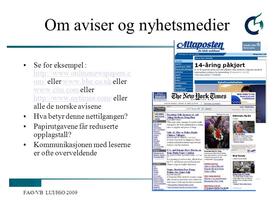 Om aviser og nyhetsmedier