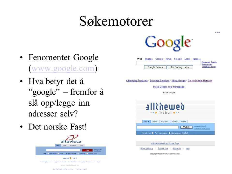 Søkemotorer Fenomentet Google (www.google.com)