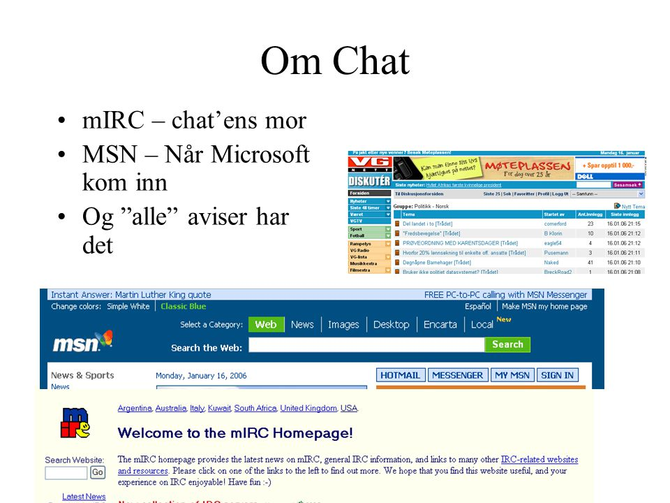 Om Chat mIRC – chat'ens mor MSN – Når Microsoft kom inn
