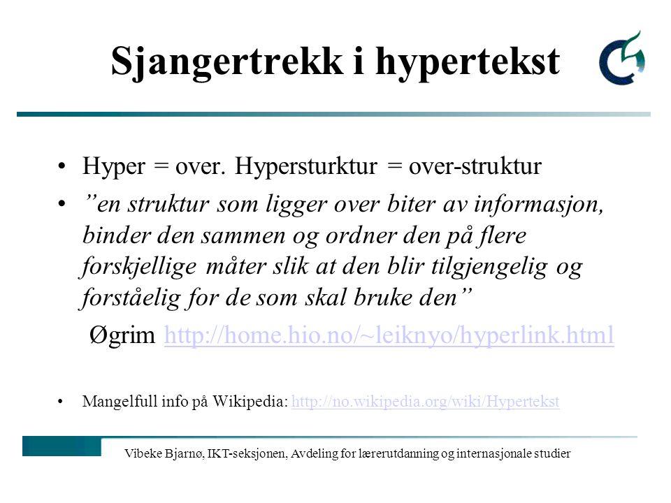 Sjangertrekk i hypertekst