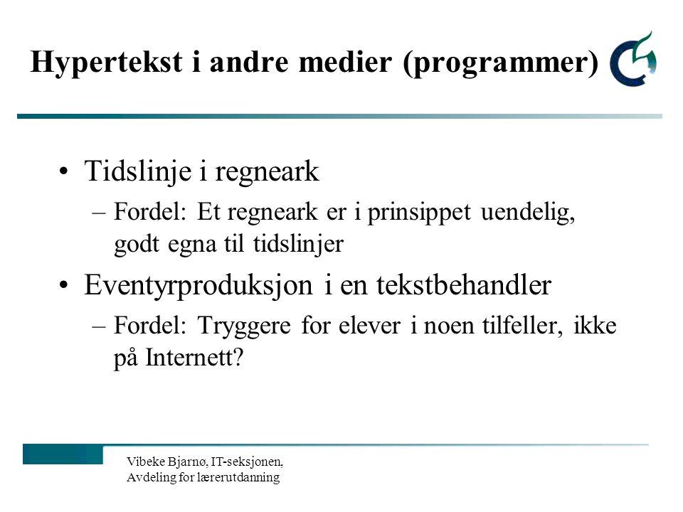 Hypertekst i andre medier (programmer)
