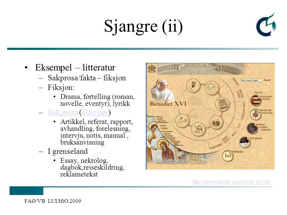 Sjangre (ii) Eksempel – litteratur Sakprosa/fakta – fiksjon Fiksjon: