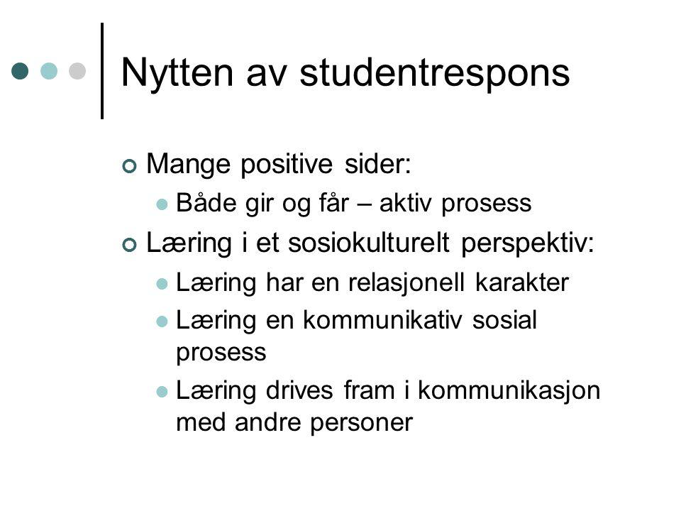 Nytten av studentrespons