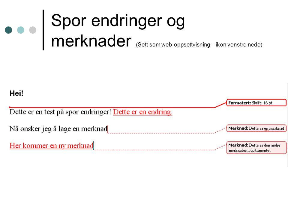 Spor endringer og merknader (Sett som web-oppsettvisning – ikon venstre nede)