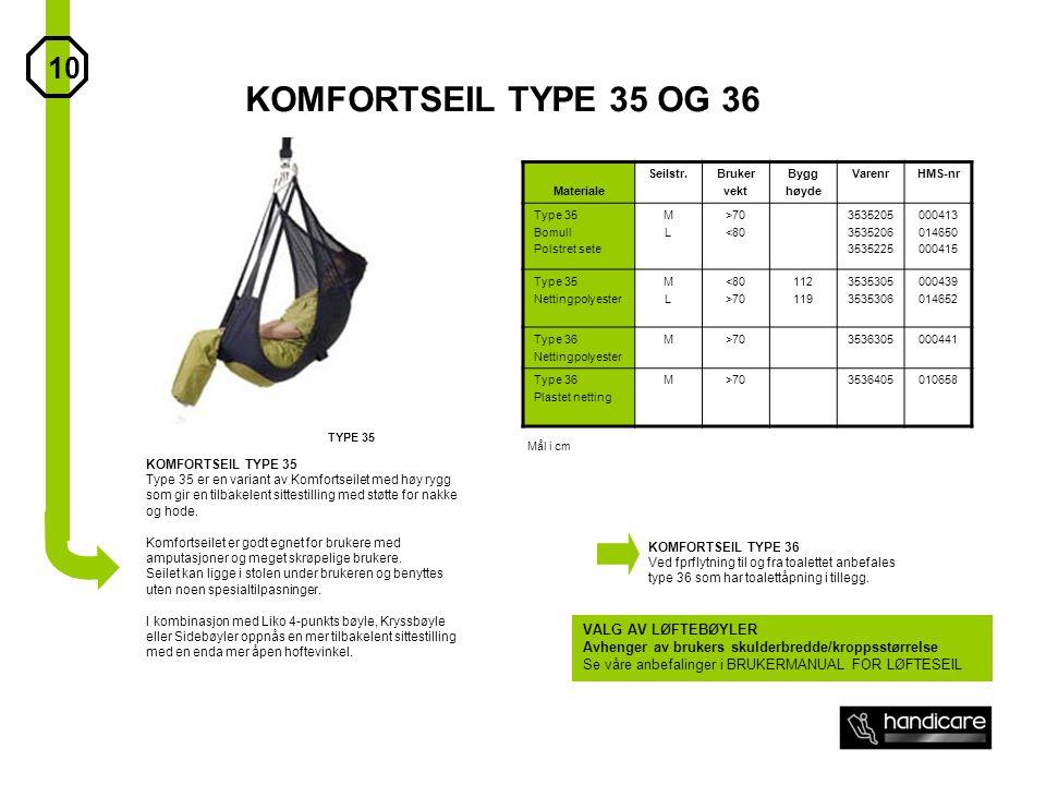 KOMFORTSEIL TYPE 35 OG 36 10 VALG AV LØFTEBØYLER