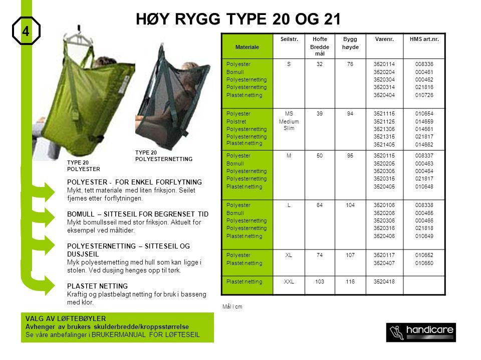 HØY RYGG TYPE 20 OG 21 4 POLYESTER - FOR ENKEL FORFLYTNING