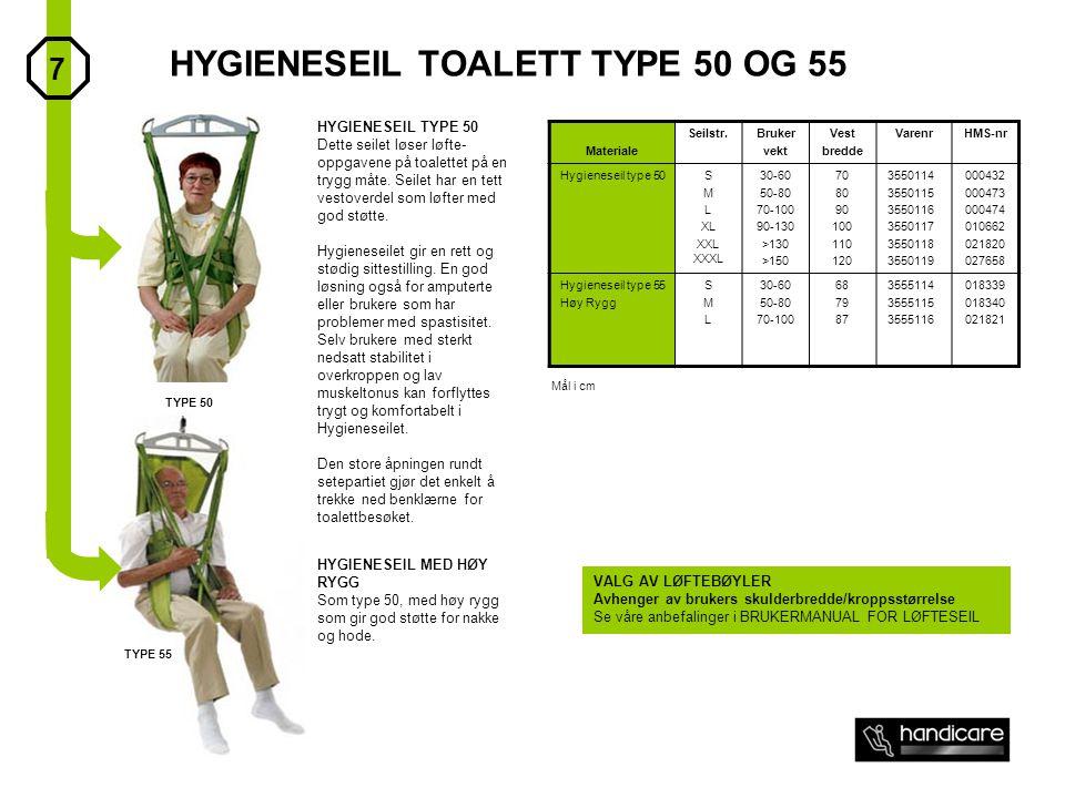 HYGIENESEIL TOALETT TYPE 50 OG 55