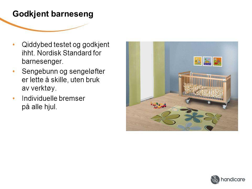Godkjent barneseng Qiddybed testet og godkjent ihht. Nordisk Standard for barnesenger.