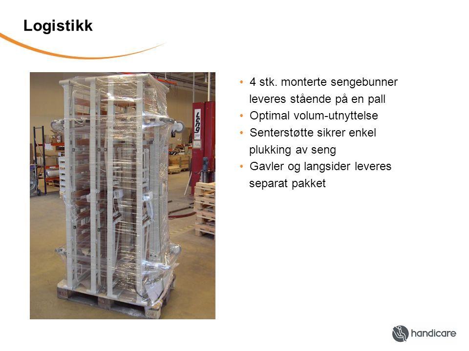 Logistikk 4 stk. monterte sengebunner leveres stående på en pall