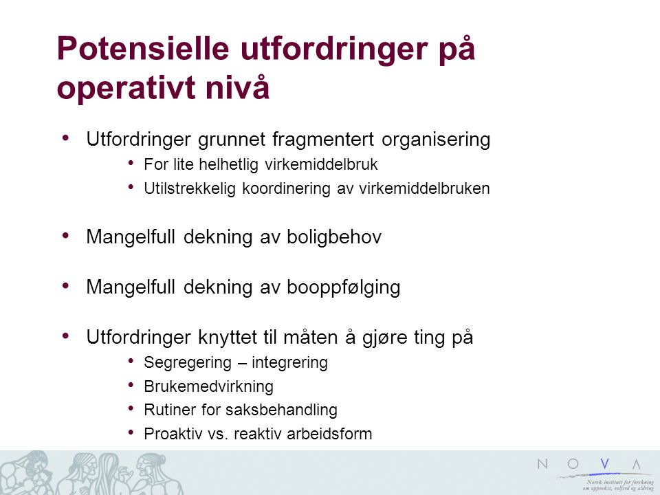 Potensielle utfordringer på operativt nivå